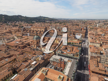 Aerial view of Via dell Indipendenza street and Piazza Maggiore square in the city of Bologna, Italy