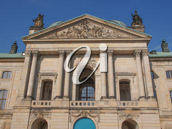 Japanisches Palais meaning Japanese Palace baroque building on the Neustadt bank of the river Elbe built in 1715 in Dresden Germany