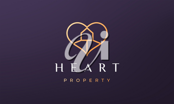 love property logo concept with feminine and luxurious style