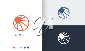 circle sun or sea logo with simple and modern style