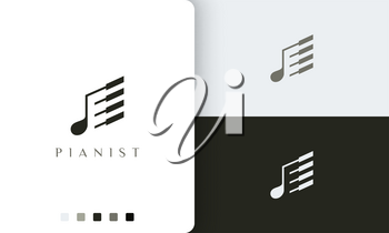 simple and modern piano player logo or icon
