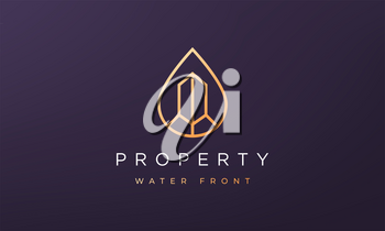 property and water logo concept in a minimal and modern style