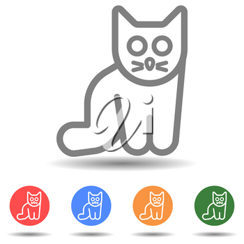 Isolated linear cat sitting icon vector