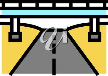 road and bridge color icon vector. road and bridge sign. isolated symbol illustration