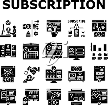 Subscription Content Collection Icons Set Vector. Buying Video Game And Music, Electronic Book And Film, Subscription On Blog Or Video Channel Glyph Pictograms Black Illustrations