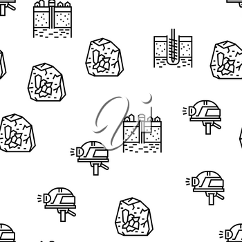 Geology Researching Vector Seamless Pattern Thin Line Illustration