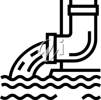 water flowing from drainage pipe line icon vector. water flowing from drainage pipe sign. isolated contour symbol black illustration