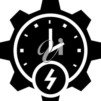 time of energy saving glyph icon vector. time of energy saving sign. isolated contour symbol black illustration