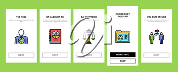 Business Ethics Moral Onboarding Mobile App Page Screen Vector. Social Ethics And Partnership, Honesty And Impact, Handshake And Team Building Illustrations