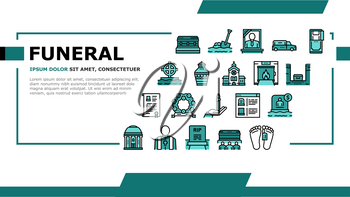 Funeral Burial Service Landing Web Page Header Banner Template Vector. Church And Priest, Grave And Coffin, Candle And Gravestone, Funeral Crematorium And Cemetery Illustration