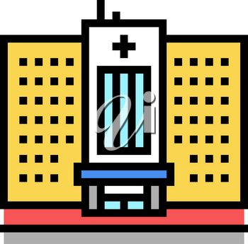 hospital building color icon vector. hospital building sign. isolated symbol illustration