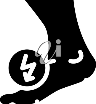 leg cutting ache when walking glyph icon vector. leg cutting ache when walking sign. isolated contour symbol black illustration