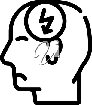 head cutting ache, headache line icon vector. head cutting ache, headache sign. isolated contour symbol black illustration
