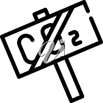 co2 crossed nameplate line icon vector. co2 crossed nameplate sign. isolated contour symbol black illustration