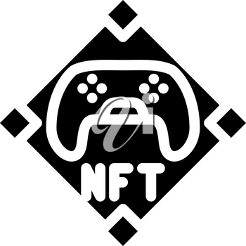 nft and games glyph icon vector. nft and games sign. isolated contour symbol black illustration