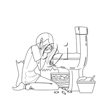 Woman Nutrition Disorder Bulimia Problem Black Line Pencil Drawing Vector. Young Sad And Depressed Bulimic Girl Feeling Sick Bulimia Guilty Sitting On Floor Leaning On Toilet Eating Burger. Character Illustration