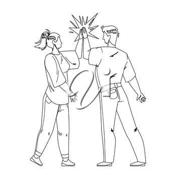 Man Giving High Five Young Woman Friend Black Line Pencil Drawing Vector. Friendly People Giving High Five Together, Greeting Or Celebrating Success. Characters Congratulating, Funny Time Illustration
