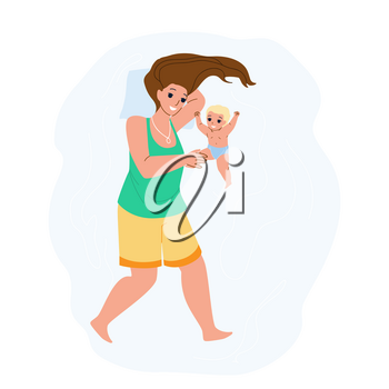 Mother And Newborn Baby Playing Together Vector. Woman Mother And Newborn Toddler Child Having Funny Time And Play Togetherness. Characters Parenthood And Childhood Flat Cartoon Illustration