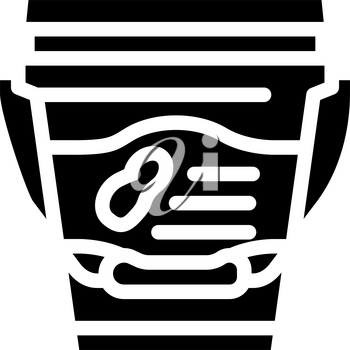bucket with peanut butter glyph icon vector. bucket with peanut butter sign. isolated contour symbol black illustration