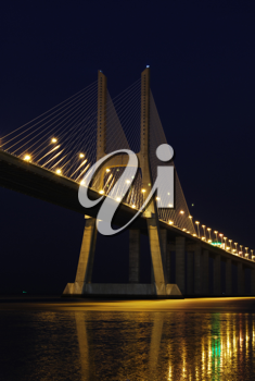Royalty Free Photo of a Night Shoot of Vasco da Gama Bridge in Lisbon, Portugal