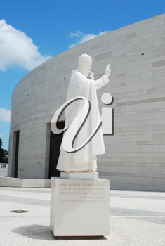 Royalty Free Photo of a Statue of the Pope in the Sanctuary of Fatima
