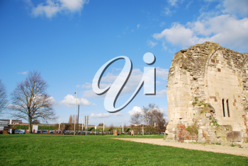 Royalty Free Photo of the St Oswald's Priory Church Ruins in Gloucester, England