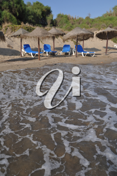 Royalty Free Photo of Costa del Sol (Marbella) With Umbrellas and Chairs, Spain