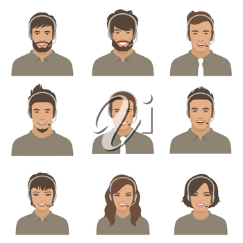 call center, customer service support. phone operator. Vector illustration of a flat design.