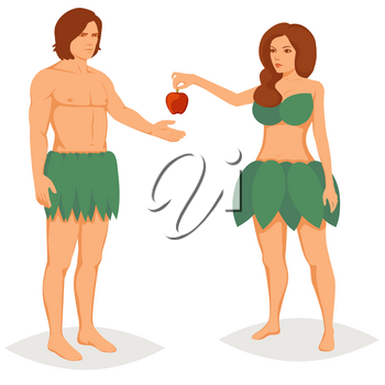 Adam and Eve characters. Woman offer apple to man. Vector flat cartoon illustration