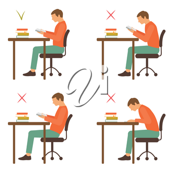 correct and incorrect sitting position, reading desk posture, vector illustration