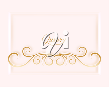 floral frame golden background with text space