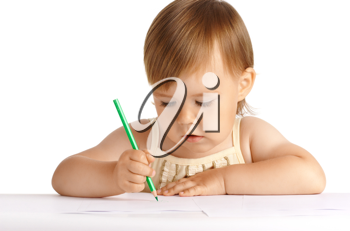 Royalty Free Photo of a Little Girl Drawing
