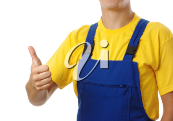 Royalty Free Photo of a Construction Worker Giving a Thumbs Up