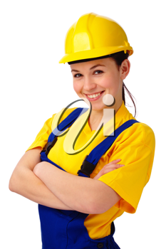 Royalty Free Photo of a Happy Woman Wearing a Hardhat