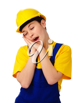 Royalty Free Photo of a Tired Woman Wearing a Hardhat