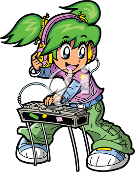 Royalty Free Clipart Image of an Anime Girl DJ