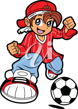 Royalty Free Clipart Image of a Young Soccer Player