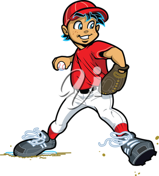 Royalty Free Clipart Image of a Boy Throwing a Ball