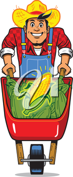 Royalty Free Clipart Image of a Man With a Wheelbarrow of Corn