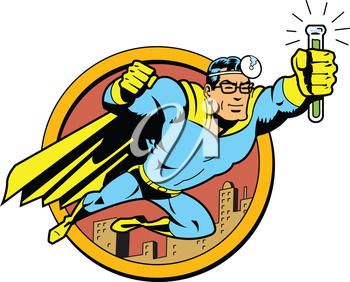 Royalty Free Clipart Image of a Retro Super Hero