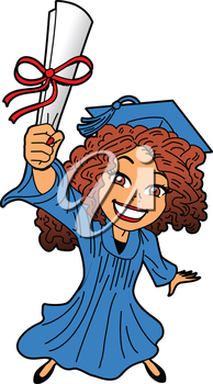 Royalty Free Clipart Image of a Girl Holding a Diploma
