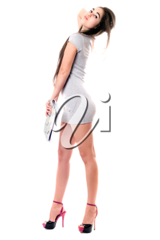 Royalty Free Photo of a Girl in a Short Grey Dress
