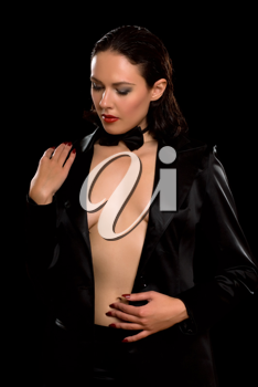 Royalty Free Photo of a Woman With an Open Jacket