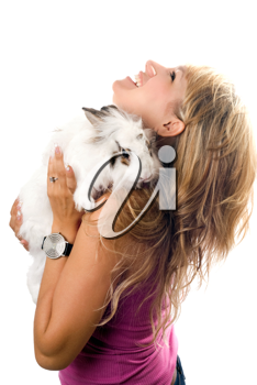 Royalty Free Photo of a Woman With a Little Rabbit