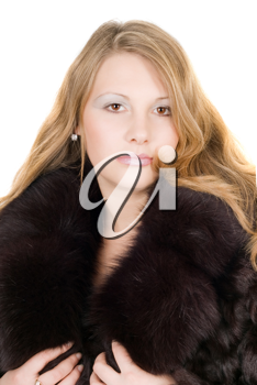 Royalty Free Photo of a Woman in a Fur Coat