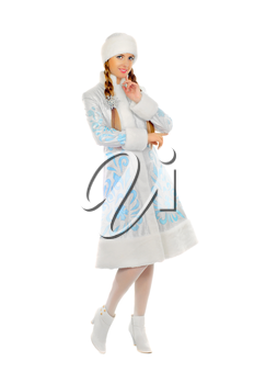 Cute smiling Snow Maiden. Isolated on white