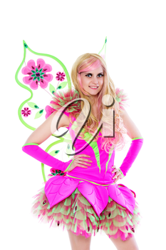 Sexy blond woman wearing pink butterfly costume. Isolated on white