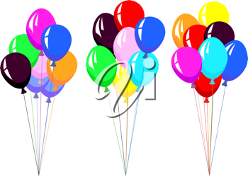 Royalty Free Clipart Image of Colorful Balloons