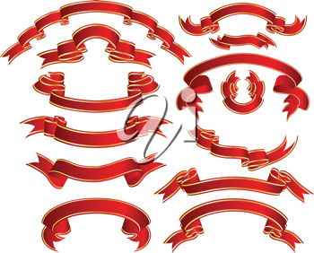 Royalty Free Clipart Image of a Set of Ribbons