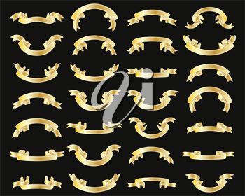 Royalty Free Clipart Image of a Set of Golden Ribbons